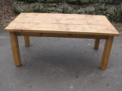 Rustic Antique Style Planked Pine Kitchen Dining Table