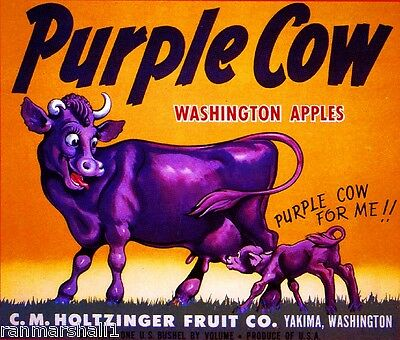 Yakima Washington State Purple Cow Apple Fruit Crate Label Art Print