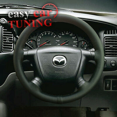 For New Mazda Tribute 2000-08 Black Real Genuine Leather Steering Wheel Cover