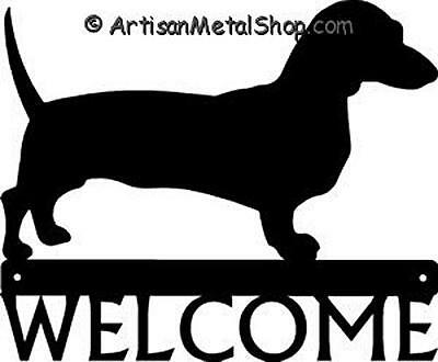 """Dog Silhouette Metal Art Welcome Sign Wall Plaque 12"""" - Breed Dachshund"""