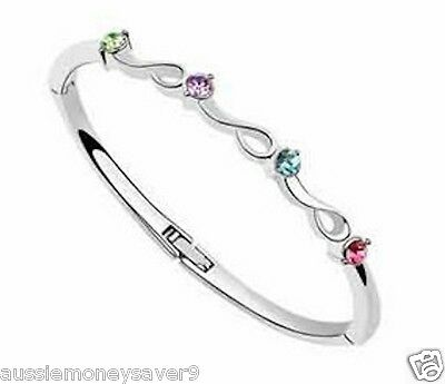 18K WHITE Gold GF Baby Bangle bracelet w/ Austrian  elements free gift B  AU