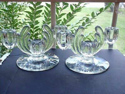 Set of 2 Heisey Crystolite Clear Three Light Candlesticks