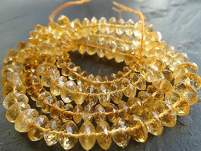 HAND FACETED CITRINE 5.5mm - 9mm rondelle beads, 18.5""