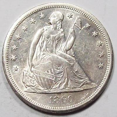1860-O SEATED LIBERTY  DOLLAR~Sharp UNC DETAILS~Has Scratch /Gouge ~Free US Ship