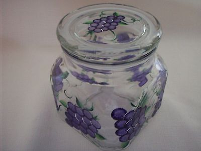 Hand painted Grape air tight jar