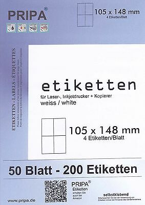 200 Etiketten 105x148mm = 4 Etiketten pro Blatt/A4    made in germany PRIPA 6120