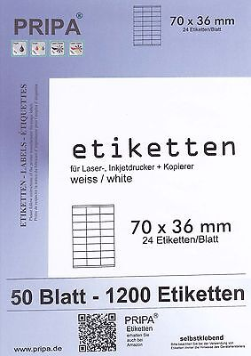 1200 Etiketten 70x36 mm = 50 Blatt DIN A4 - weiß - PRIPA made in germany - 3475
