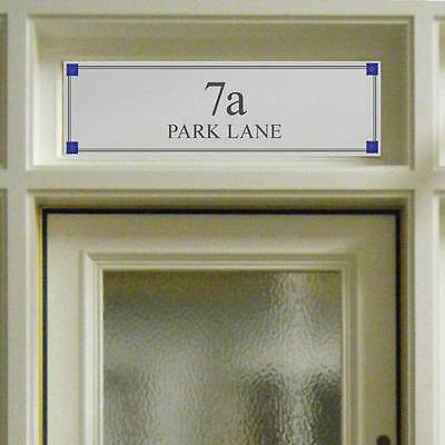 Etched Glass Style Fanlight Transom House Numbers Front Door & coloured glass