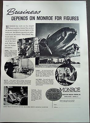 1937 vintage Ad Monroe Calculating Machine Co. American Businesses