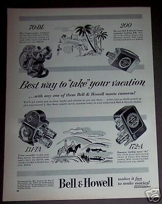 1952 vintage photography Ad Bell & Howell Movie Cameras 4 models