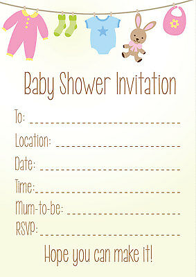 16 A6 Neutral Boy Girl Baby Shower Invitations Parents party invites cards mums