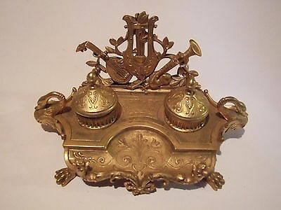 A French Ormolu Gilt Ink Well Stand