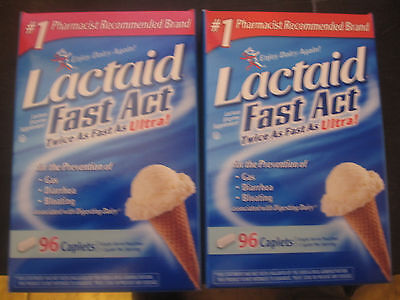 Lactaid Fast Act twice as fast as ultra 2-96 Caplet Boxes