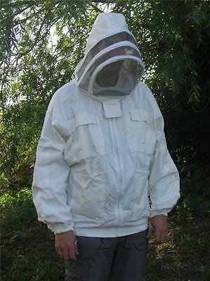 Bee Jacket Small 100%  Pure Cotton Hat Veil Hood Beekeeping New
