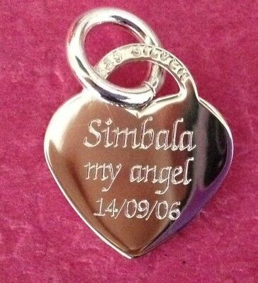 Personalised Engraved 925 Sterling Silver Heart Charm ~ Bracelet Pendant 3 GM