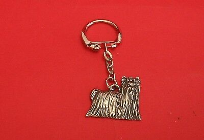 Yorkshire Terrier Dog Pewter Keyring Vet Pet Mum Dad Xmas Gift Free Pouch New