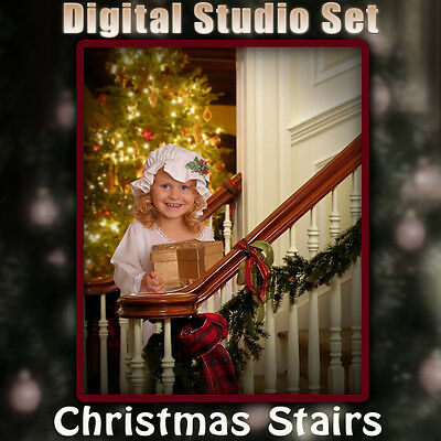 Christmas Stairs Digital Background Backdrop For Photography Green Screen PSD