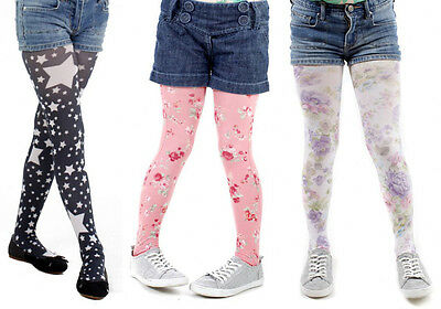 Pamela Mann Girls Tights ~ Floral or Star ~ Age 6-8 & 9-11 ~ Designer Legwear