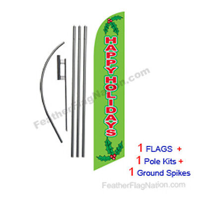 Happy Holidays (green) 15' Feather Banner Swooper Flag Kit with pole+spike
