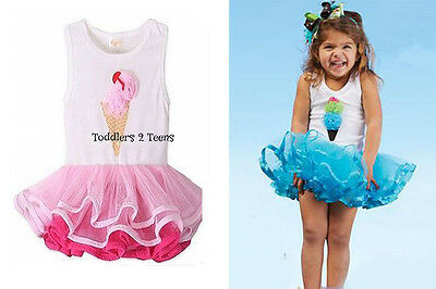 Cute Baby Girl Ice Cream Tutu Birthday Party Dress Ruffle Pink Princess Outfit