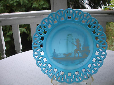 "Westmoreland Mary Gregory Blue Plate ""Boy with Dog Fishing"""