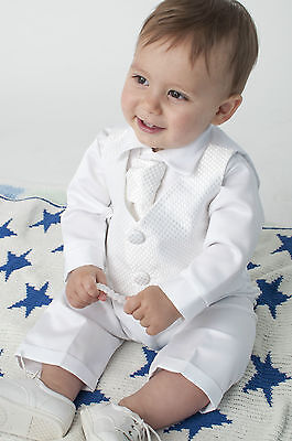 Baby Boys 4 Piece Christening Outfit / Christening Suit White Check