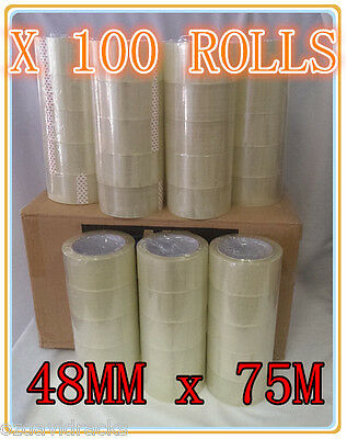 100 x Clear Packing Packaging Tape 48mm x 75m Sticky Sealing Shipping Box Carton