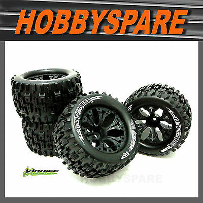 "4 x 1/10 MONSTER TRUCK WHEEL & TYRE 2.8"" BEADLOCK STYLE TRAXXAS HPI 4WD HSP"
