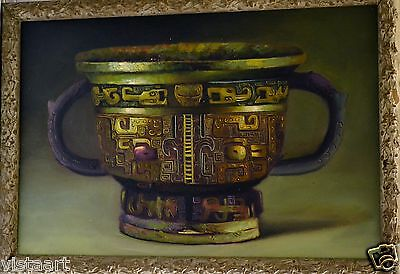 """Oil Painting on Canvas in Antique Style 19x27"""" Detailed Frame-Classical Pottery"""