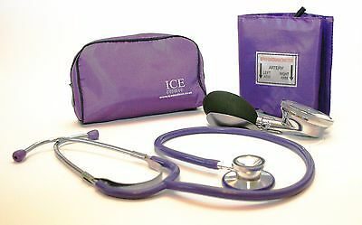 Purple Aneroid Blood Pressure Monitor - Sphygmomanometer & Purple Stethoscope
