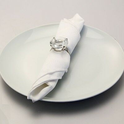 6 x Clear Crystal Gem Diamond Cut Shape Napkin Holder Ring Wedding Party Rings