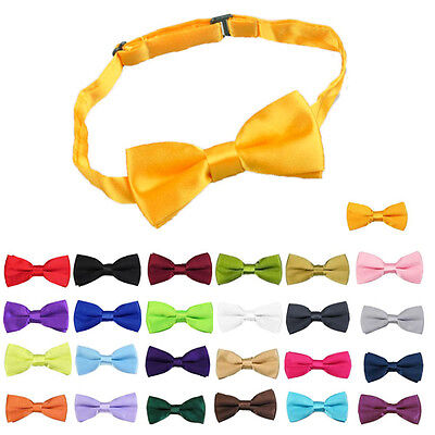 Children Girls Boys Toddler Bowtie Pre Tied Wedding Bow Tie Plain Necktie CC