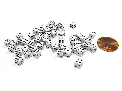 50 Six Sided D6 5mm .197 Inch Die Small Tiny Mini Miniature White Dice