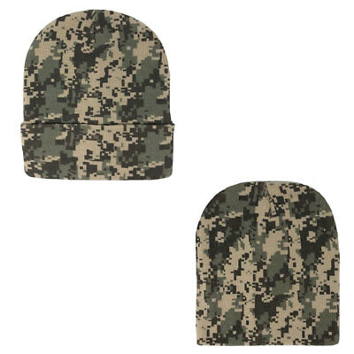 1 Dozen Grey Pixel Camo Camouflage Winter Beanies Hats Caps Wholesale Lot