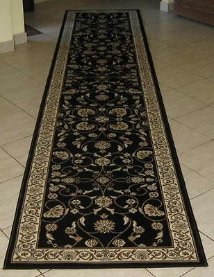 New Black Persian Design Heatset Floor Hallway Runner Rug 80X300Cm