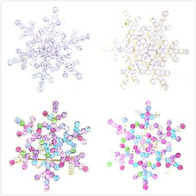 Pretty crystal snowflake brooch multiple colours