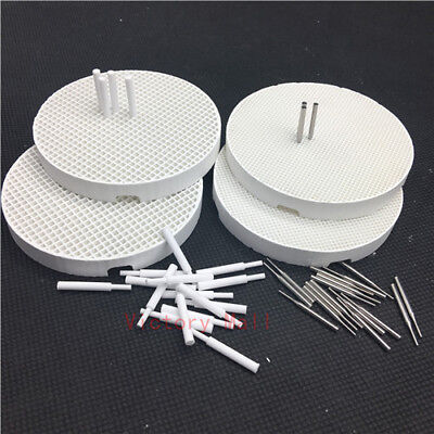 4 Dental Lab Porcelain Honeycomb Firing Trays with 20 Zirconia and 20 Metal Pins