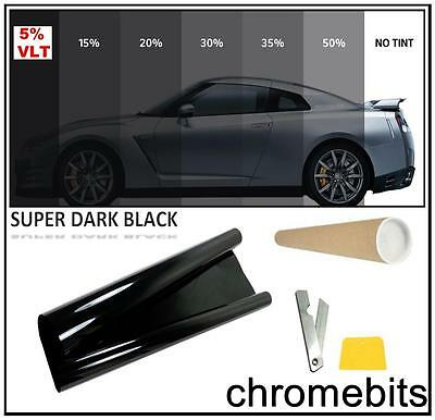 Auto Car Office Tinting Window Tint Film Super Dark Limo Black 5% 50X300Cm