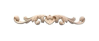 "Hand Carved solid hardwood applique/onlay Decor 1-7/8"" x 13-1/8"" x 3/4"""