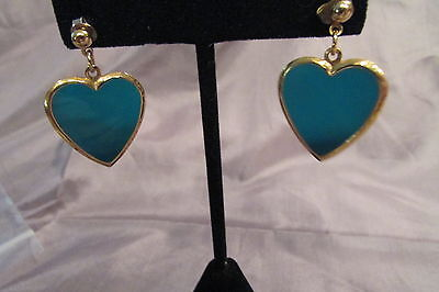 Small Goldtone Dangle Royal Blue Enamel Pierced Earrings