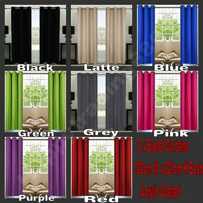 1Pair Coated Blockout Eyelet Curtain Black Latte Blue Green Grey Pink Purple Red