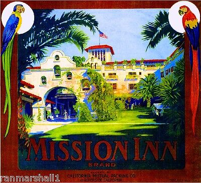 Riverside California The Mission Inn Orange Citrus Fruit Crate Label Art Print