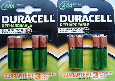 8 x AAA DURACELL HOME PHONE DECT RECHARGEABLE BATTERIES 750mAh STAY CHARGED