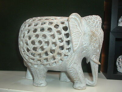 "6"" Hand Carved Soapstone Elephant with baby inside!"