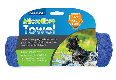 Ancol Microfibre Grooming Drying Absorbent Dog Cat Pet Towel Blue 50cm x 100cm