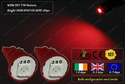 2x T10 W5W 501 168 LED Red Wedge Side Light Parking Bulb Overhead Interior Lamp