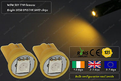 2x LED T10 W5W 501 Amber Yellow Wedge Side Lights Indicator Lamp Repeater 12v DC