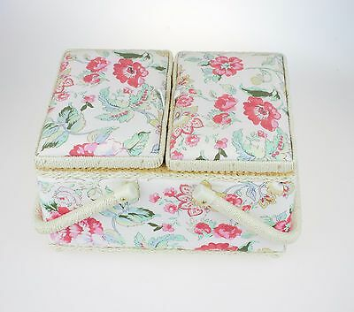 Floral Print Twin Lidded Padded Sewing Basket/craft Box With Handles 3 Colours!