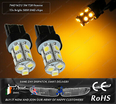 LED T20 580 W21/5W 7443 Yellow Side Turn Signal Repeater Indicator Light Bulbs