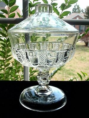 EAPG Bryce Higbee Panelled Diamond Point Covered Compote circa 1880